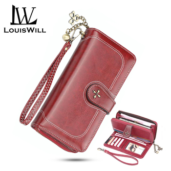 LouisWill Women Long Wallet Large Capacity Wallet Card Holder Leather Purse Clutch Wallet Multifunctional Ladies Wallet new fashion brand wallet men leather bifold card checkbook holder long wallet organizer purse multifunctional card holder wallet
