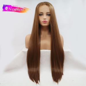 Image 1 - חידוש התיכון חלק 13x4 תחרה סינתטית פאות עבור נשים ארוך חום צבע #8 ישר שיער פאה חום עמיד פאות
