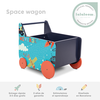 Andador bebe madera azul carrito infantil con espacio de almacenaje para juguetes