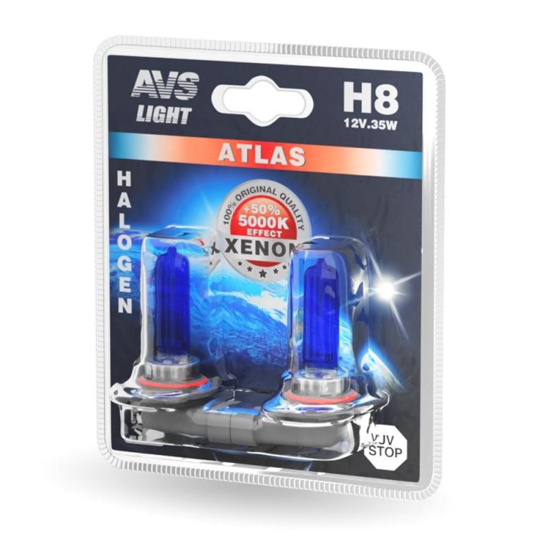 Комплект галогенных ламп AVS ATLAS H8 (A78571S) 5000К 12V 35W 2