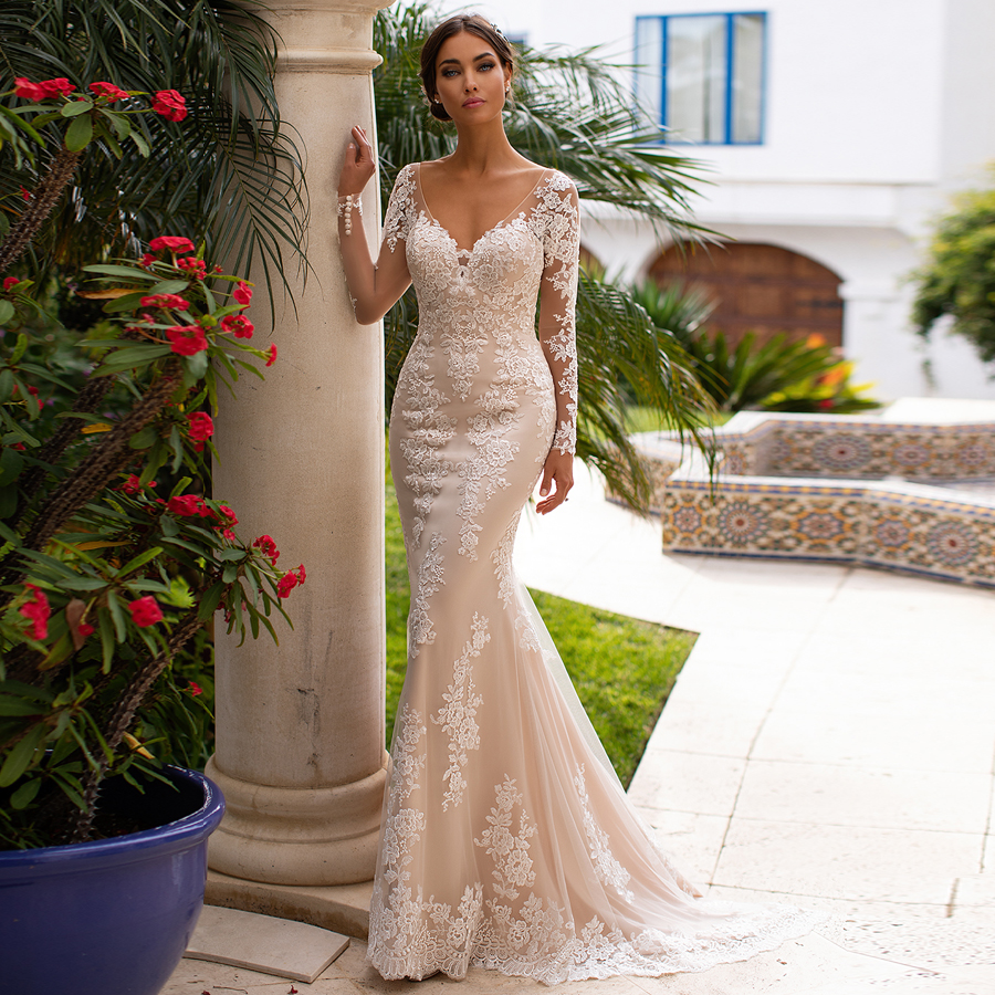ADLN Champagne Mermaid Wedding Dresses Illusion Long Sleeves V-neck Lace Applique Backless Bridal Gown Vestido De Noiva