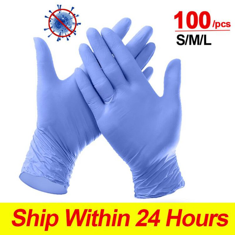 100PCS/Box Disposable Nitrile Gloves Waterproof Industrial Disposable Work Food Safety Protective Gloves 50 Pairs Free Shipping