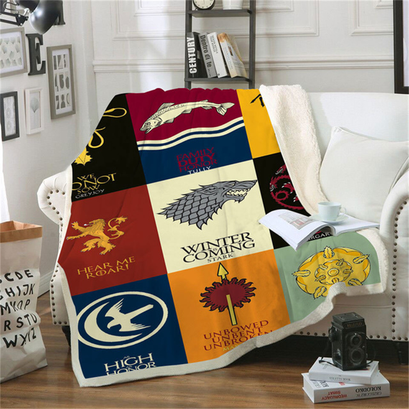 Anime Game Of Thrones Print Sherpa Blanket Couch Sofa Cover Travel Youth Bedding Outlet Fleece Blanket Bedspread Thick Tapestry