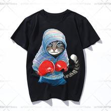 Хлопковая крутая женская футболка с коротким рукавом и изображением