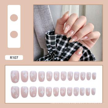 Nail Art sztuczne paznokcie naturalne sztuczne wzory pełna okładka sztuczne sztuczne paznokcie Manicure narzędzia do paznokci poręczny odpinany gwóźdź tanie i dobre opinie CN (pochodzenie) Palec False Nail Tips Sticker Pełne końcówki paznokci