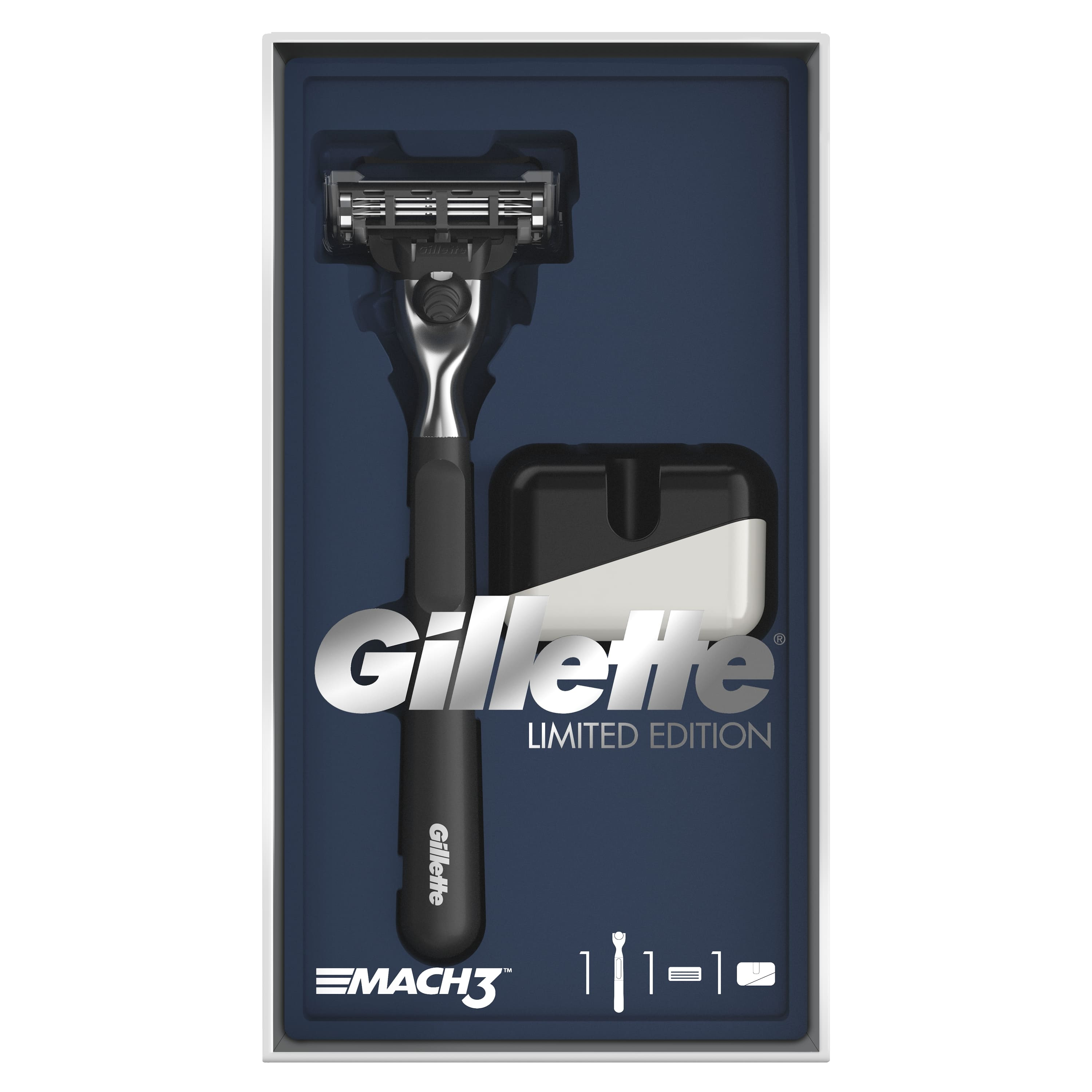 Gillette Mach3 Gift Set Limited Edition with Black Handle (Razor with 1 Interchangeable Cassette + Stand) цена