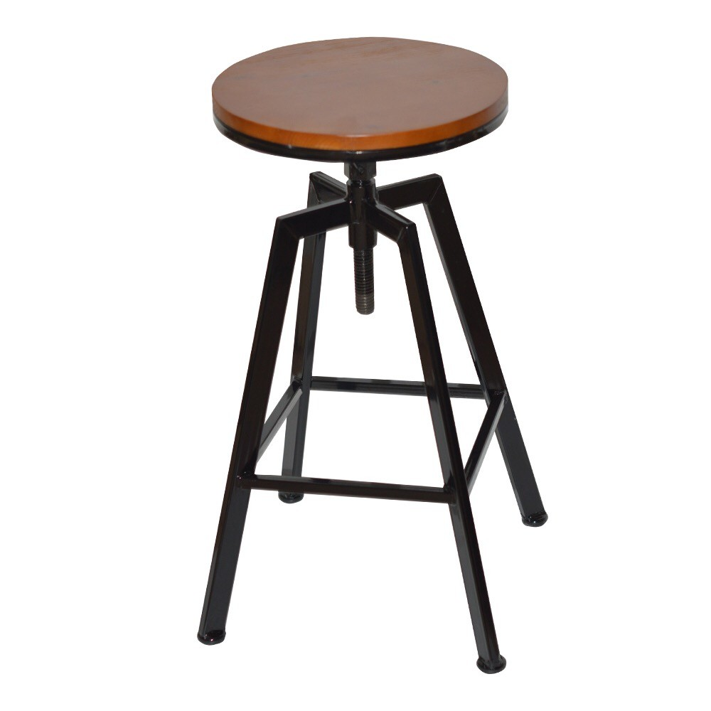 Stool MUXIN Metal Black, Walnut Wood