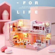 DIY Pink Doll House Dream Angel Exquisite Wooden Miniature Dollhouse Furniture Kit Assembled Toys Birthday Gift diy doll house dream angel wooden miniature dollhouse furniture kit toys