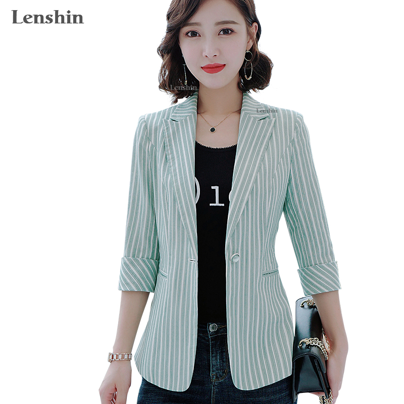 Lenshin Striped Jacket For Women Summer Wear Female Casual Style Breathable Coat Half Sleeve Blazer Breathable Tops Outwear