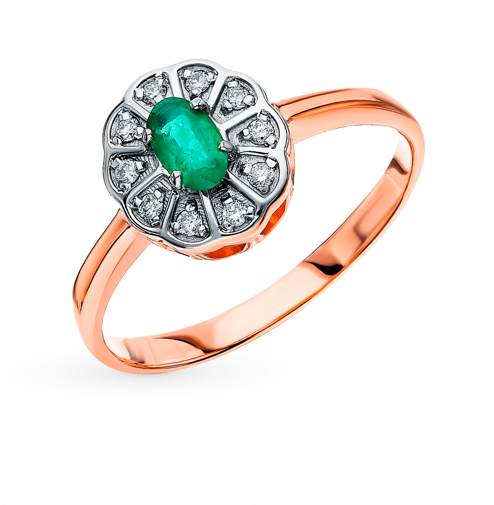 Gold Ring With Emeralds And Diamonds Sunlight Sample 585