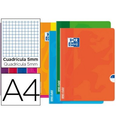 SCHOOL NOTEBOOK OXFORD OPENFLEX BENDABLE COVER OPTIK PAPER 48 SHEETS DIN A4 TABLE 5 MM ASSORTED COLORS 10 PCs