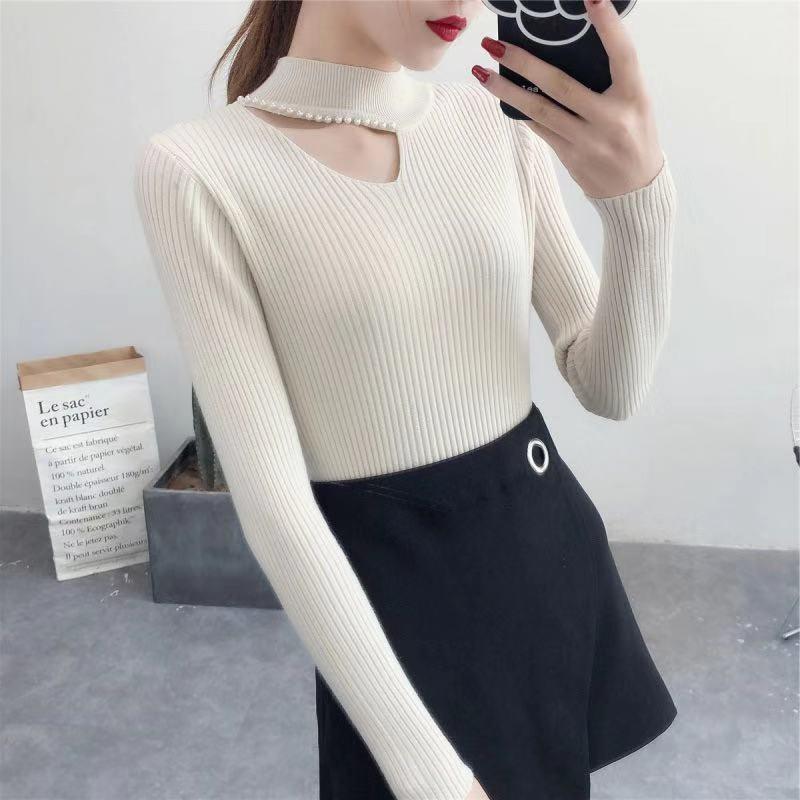 Women Halter V-neck Sweater Female Pearl Slim Long-sleeved Shirt Fashion Hollow Autumn Winter Sweater Women New