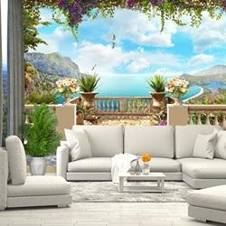 3D Фотообои фреска море небо, обои на стену, для зала, кухни, спальни, детской, фотообои расширяющие пространство