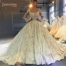 2020 מדהים מלא ואגלי חתונת שמלת כלה שמלת יוקרה ארוך רכבת שמלת כלה