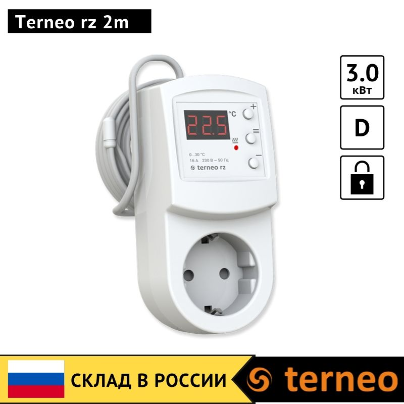 Terneo Rz 2m -electronic Thermostat In The Socket Plug With Digital Control For Infrared Heaters And Convectors With Air Sensor