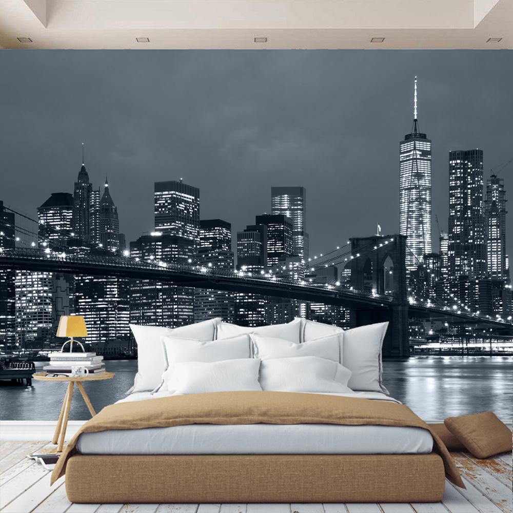 3D Wall Mural Brooklyn Night City New York City, Wallpaper On The Wall, For Hall, Kitchen, Bedroom, Children's, Wall Mural Expanding Space
