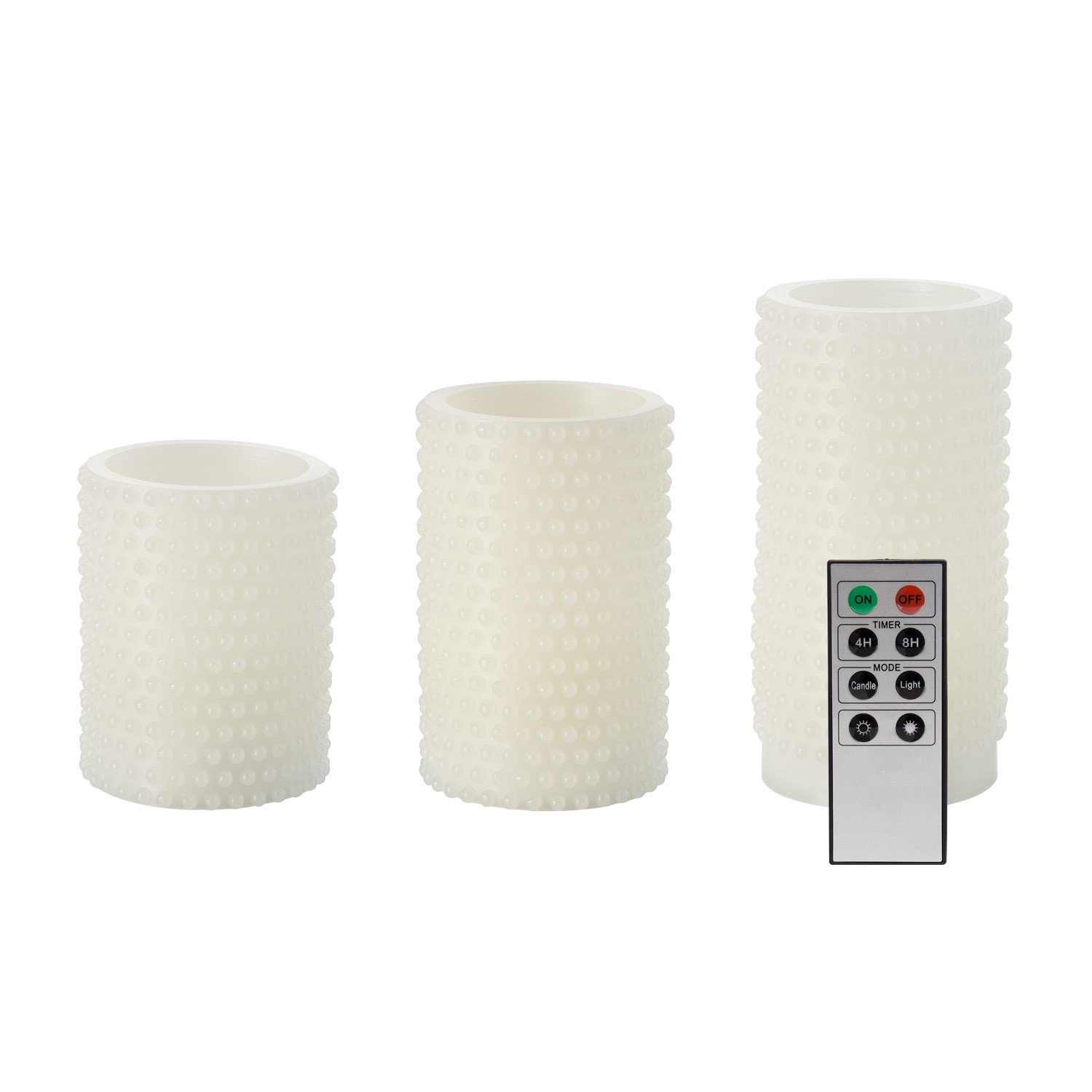 Pack 3 Velas LED Wax Natural Snow With Remoto Control