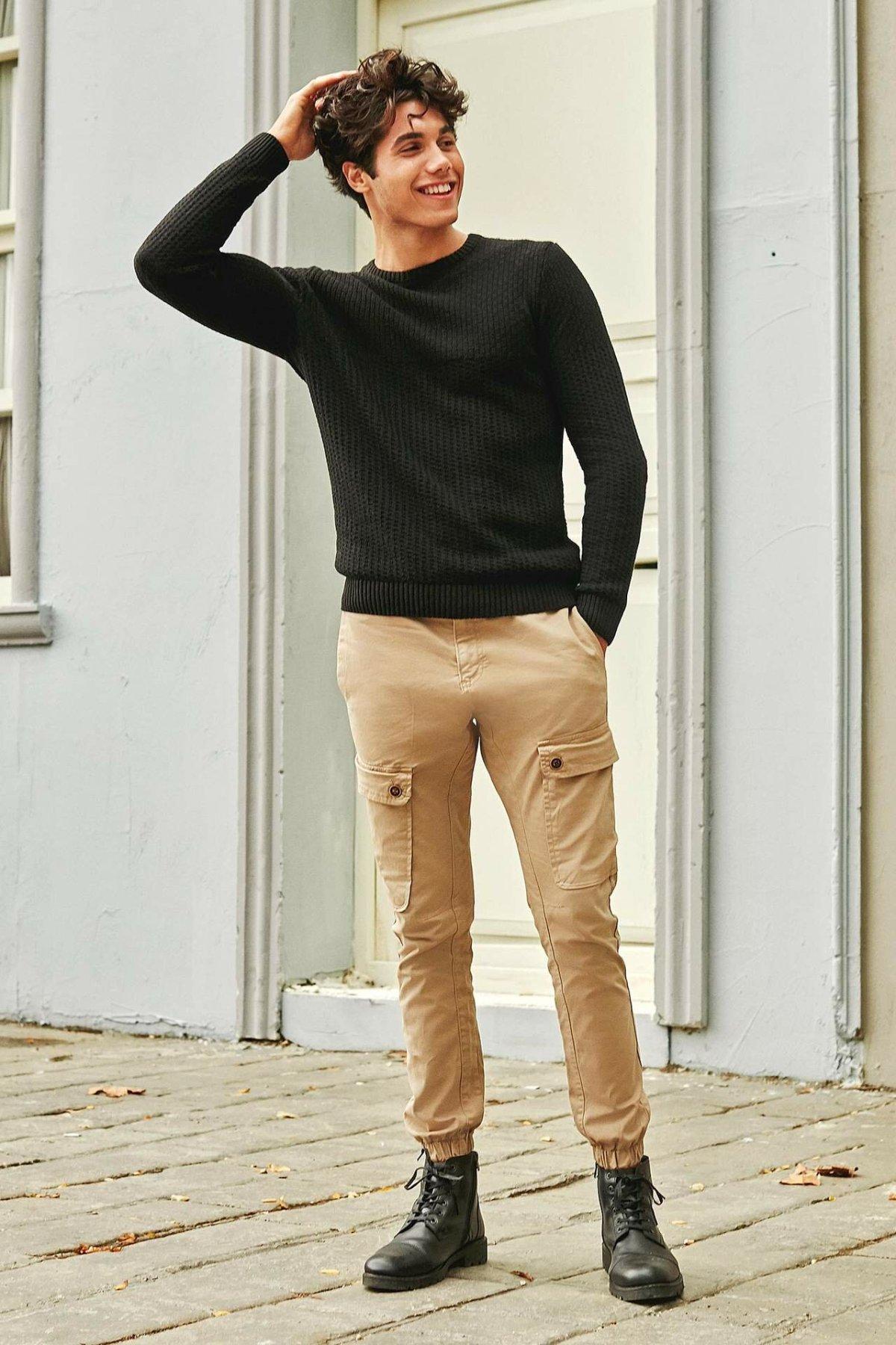 DeFacto Fashion Man Cargo Pants For Men's Solid Pockets Simple Casual Loose Leisure Trousers Male Autumn - M5636AZ19AU