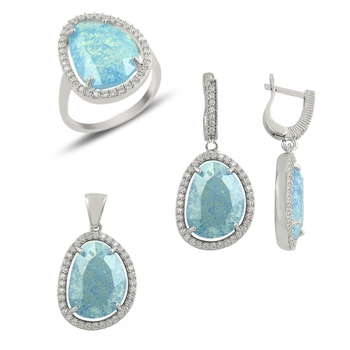 Silver 925 Sterling Frosted Zircon Cubic Zirconia Set