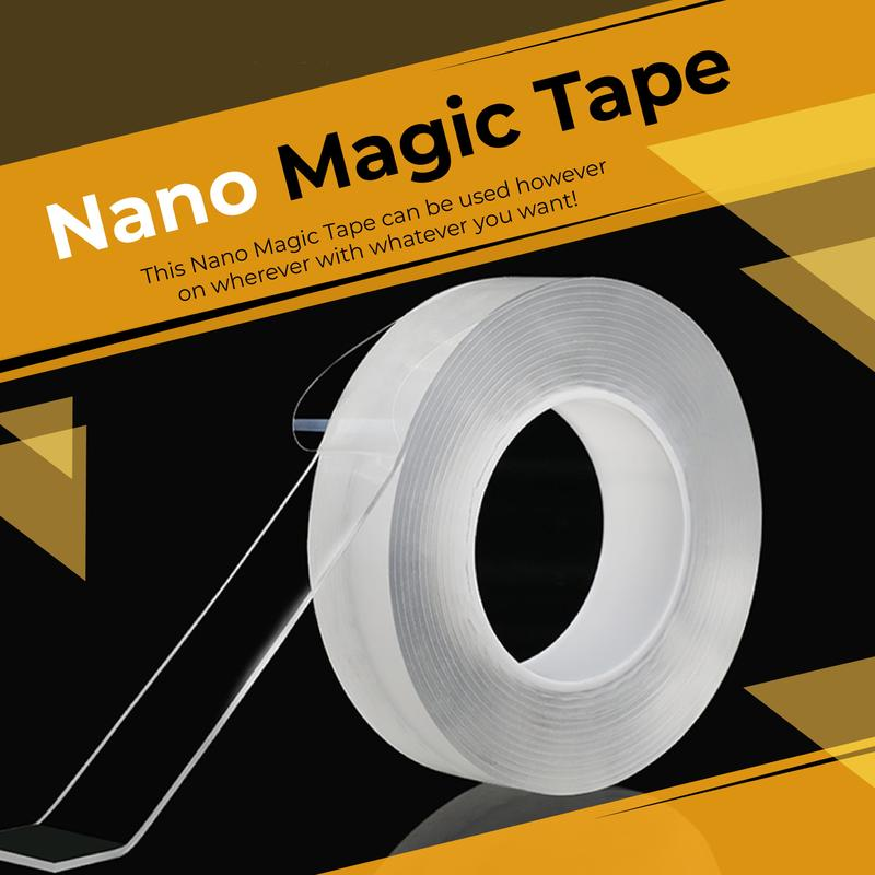Reusable Double Sided Adhesive Nano Magic Tape Double-Sided Adhesive Nano Traceless Tape Removable Sticker Washable Adhesive Loo