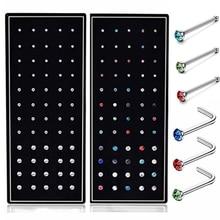 Набор из 40/60 штук, набор из нержавеющей стали, L-образные шпильки для носа, 20 г, набор из прямых кристаллов для пирсинга носа, Шпилька для носа