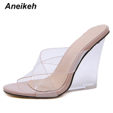 Aneikeh Sandals Wedges Heel Shoes-Size Crystal Clear Transparent High-Heels Sexy Women