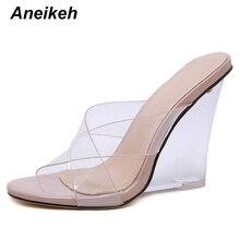 Aneikeh Sandals Shoes Woman PVC Crystal Wedges Heel Transpar