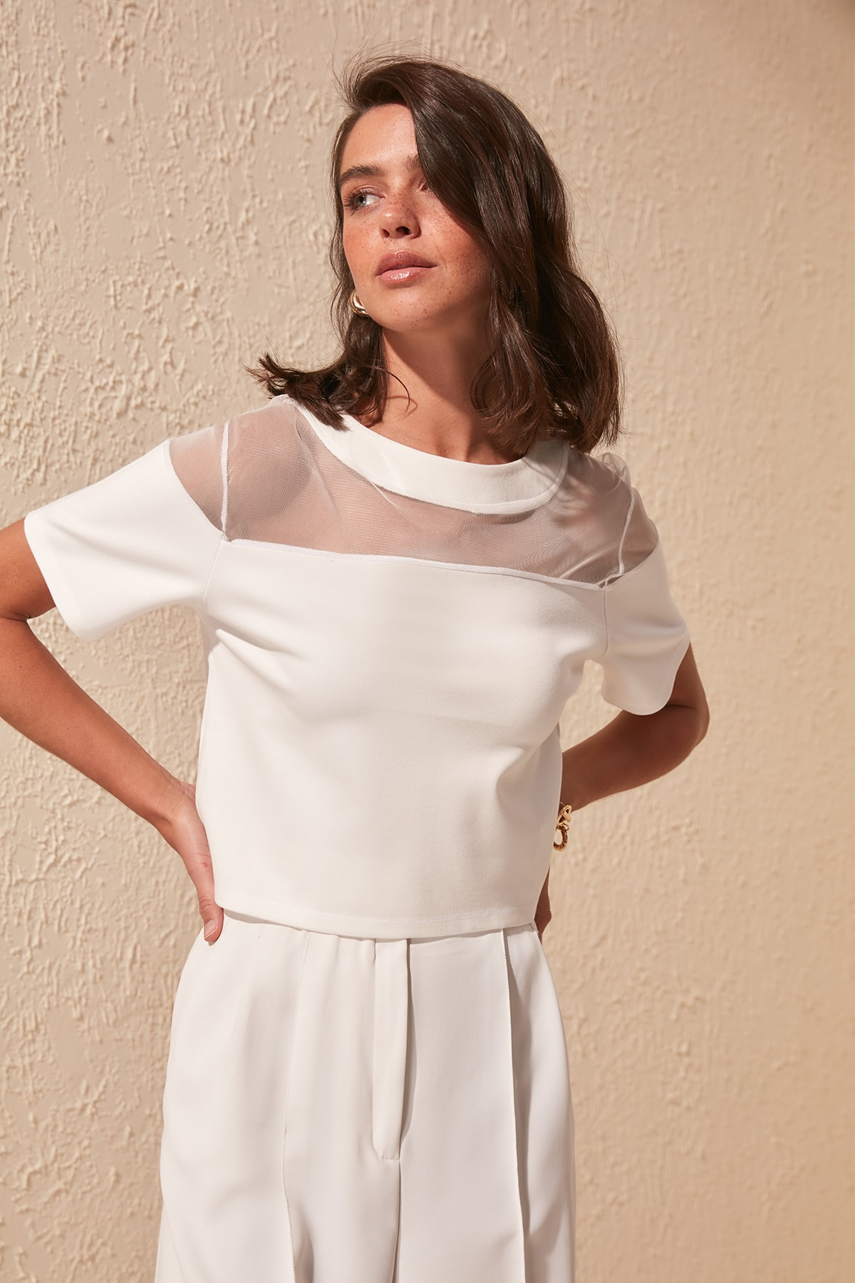 Trendyol Transparan Detailed Knitted Blouse TWOSS20BZ0788 Blouses & Shirts    - AliExpress