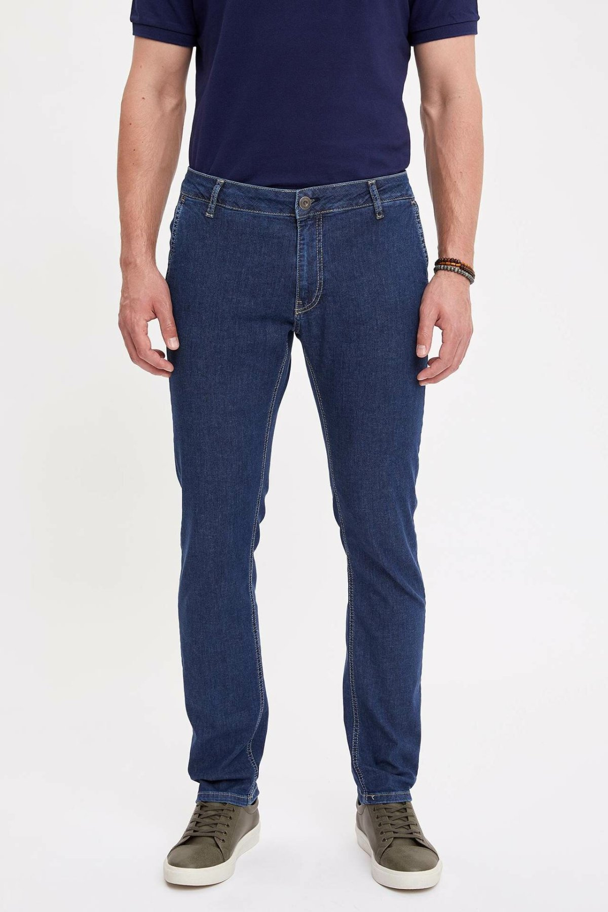 DeFacto Man Fashion Blue Simple Trousers Jeans Casual Classic Denim Jeans Casual Skinny Elasticity Pants Male -K9195AZ19SM