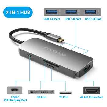 dodocool 7-in-1 USB C USB-C Hub with Type C Power Delivery Hub 4K HD Output USB 3.0 HUB SD/TF for MacBook Pro Huawei P20 Pro