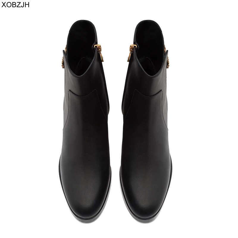 Designer zwarte Laarzen Vrouwen luxe 2019 merk Echt Lederen Schoenen Voor Winter Laarzen Schoenen Vrouw Casual Lente Vrouwelijke Enkellaars