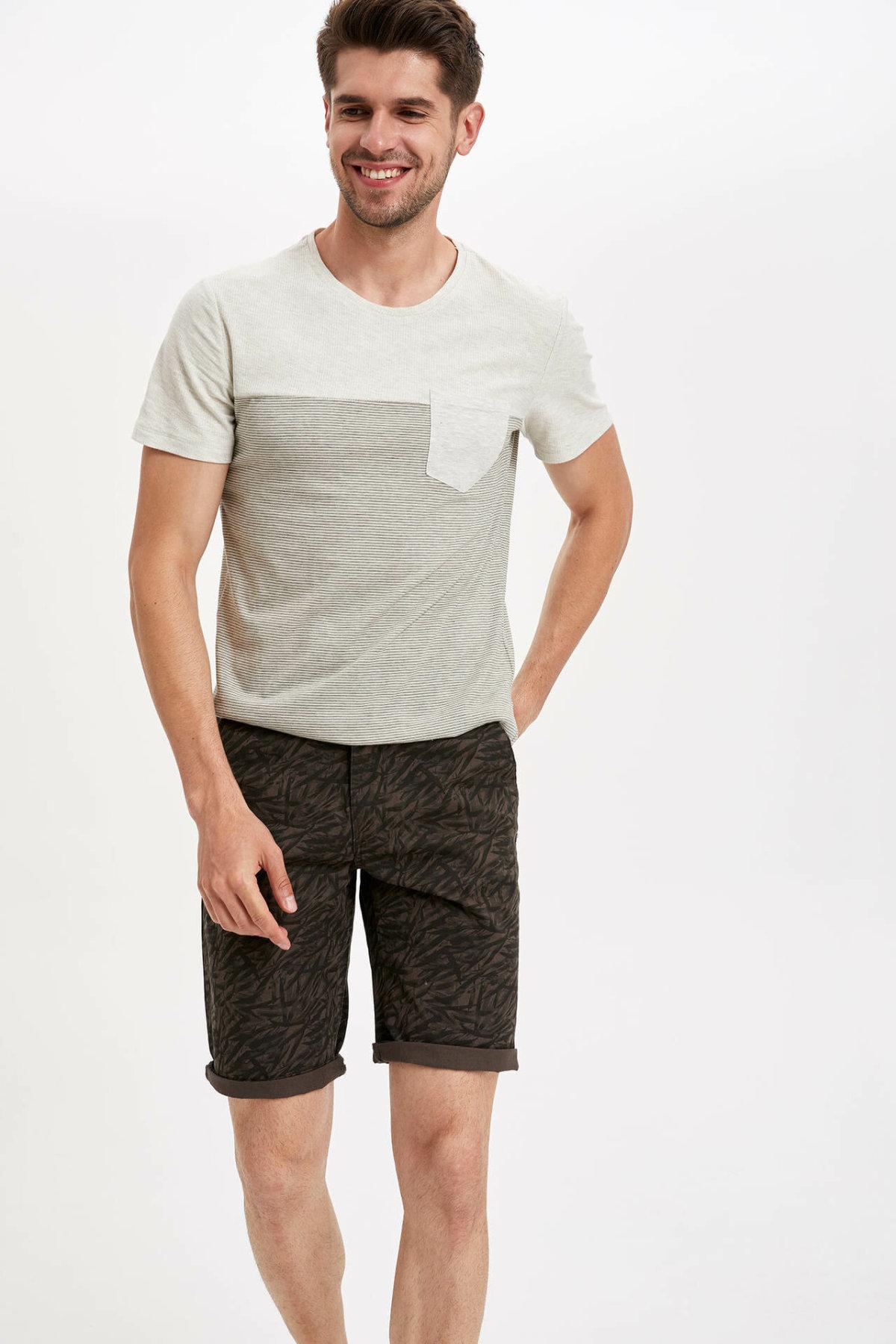 DeFacto Man Summer Dark Color Shorts Men Casual Shorts Male Dark Color Prints Short Bottoms Male Bermuda-K6964AZ19SM