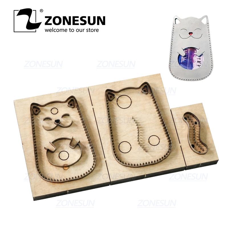ZONESUN C3 Bank Credit Card Holder Custom Leather Cutting Die Handicraft Punching Tool DIY Paper Clicker Die Wooden Template