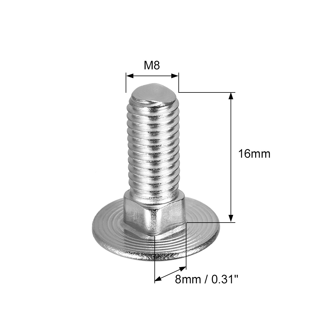 304 Stainless Steel M6x20mm Silver Tone 10Pcs Round Head MroMax Carriage Bolts Square Neck Neck Carriage Bolt