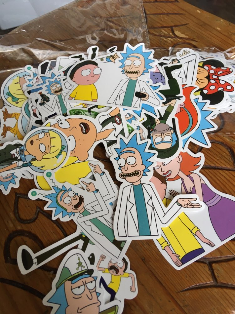 25 100Pcs American Drama Rick and Morty Stickers Decal For Snowboard Luggage Car Fridge Car- Styling Laptop Stickers