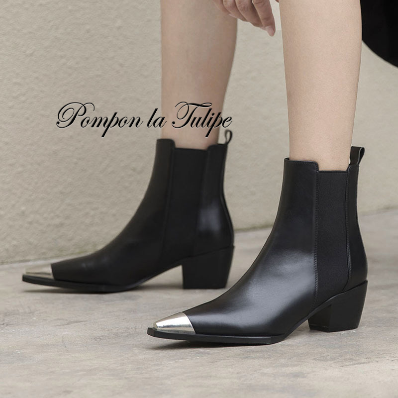 BHS 9011178 Stylish Pointed Toe Genuine Cow Leather Elastic Band Patchwork 5CM Chunky Heel Mid Calf Women Fashion Chelsea Boots in Mid Calf Boots from Shoes