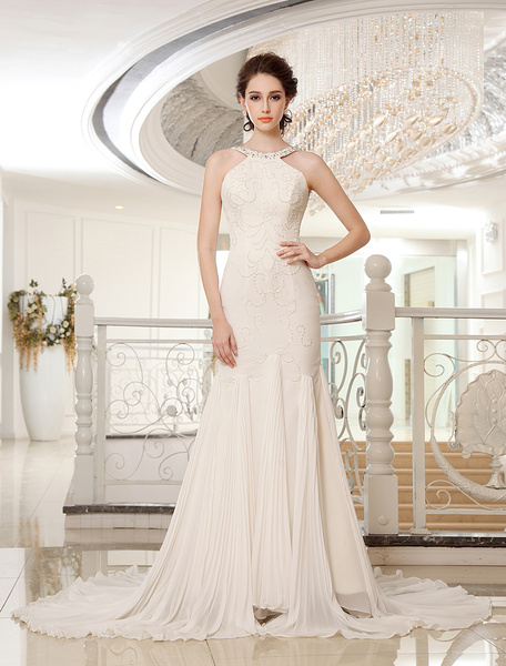 Chapel Train Halter Embroidered Ivory Wedding Dress Bridal