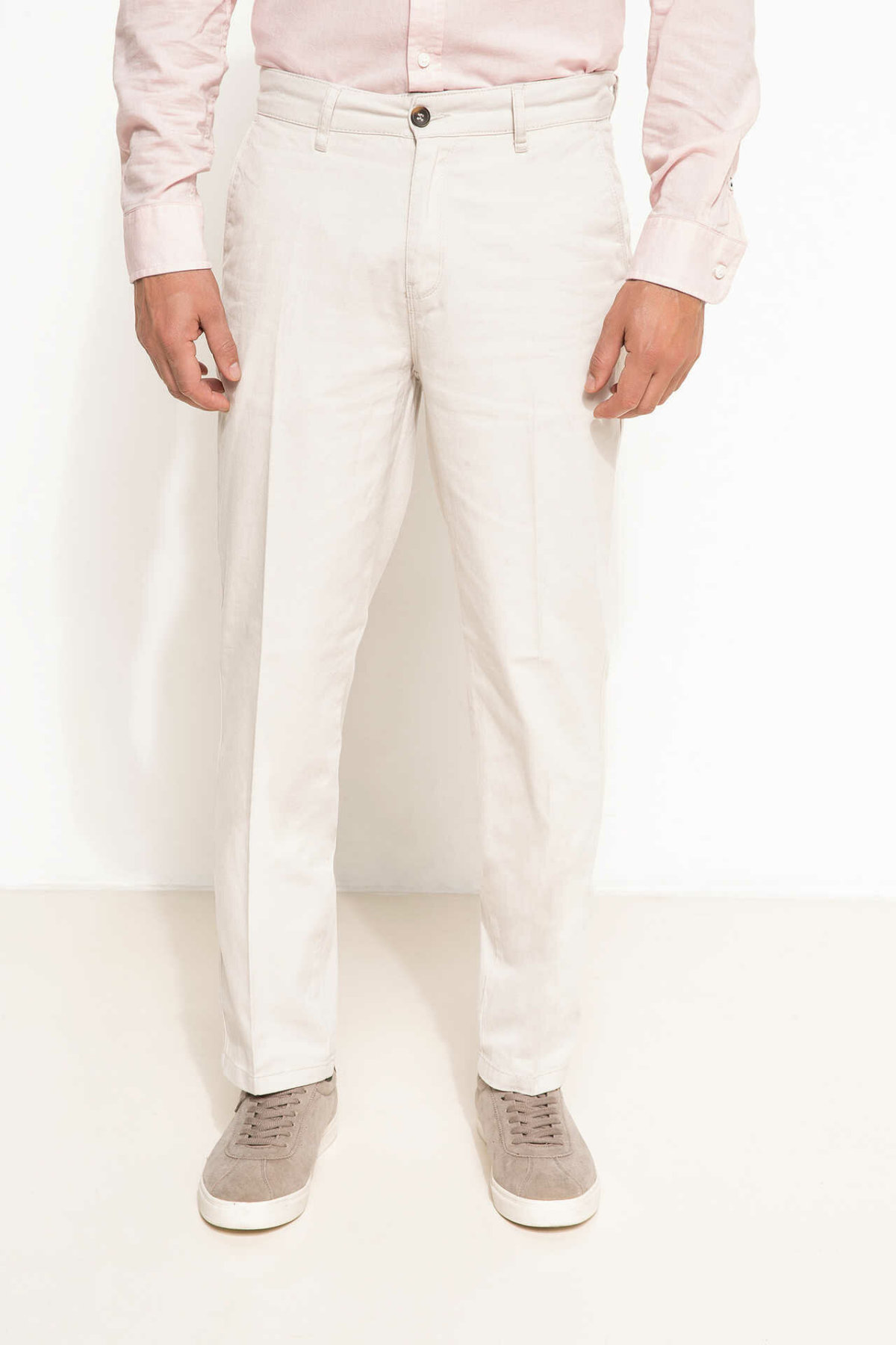 DeFacto Men Solid Fashion Casual Pants Straight Leisure Trousers Straight White Elastic For Men's Cotton Pant  -G6023AZ17SP