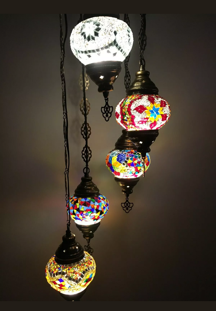 Turkish Handmade different Color 5 ball mosaic chandelier, Handmade mosaic lamp, Ottoman design Turkish chandelier, Mosaic lamp