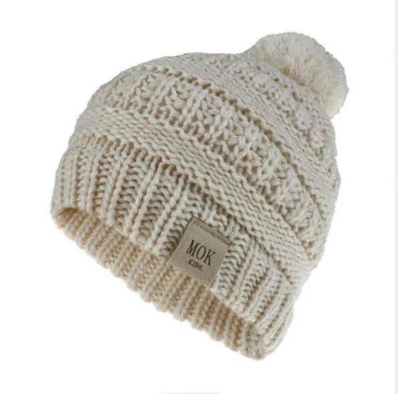 ילדי חורף 1 ~ 8 שנים ילדים תינוק צמר סרוג כובע כובע כפה עם פונפון כפה עבור בני בנות
