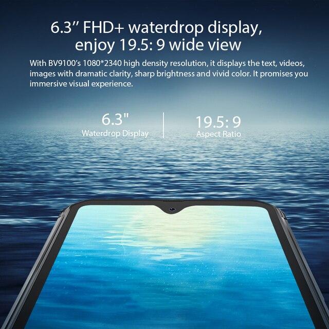 Blackview BV9100 IP68 Waterproof Cellphone 13000mAH 30W fast charging 4G Mobile Phone MTK6765 4GB+64GB 16.0MP Rugged Smartphone 4