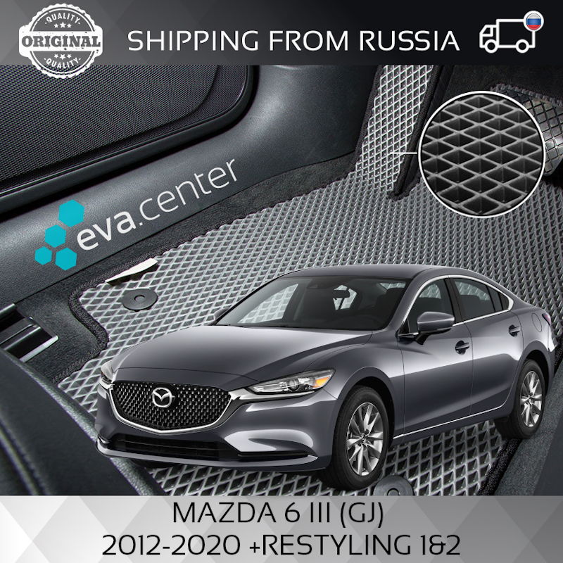 Tapis de voiture EVA sur la MAZDA 6 III (GJ) 2012-2020 + restylage ensemble de 4x tapis et cavalier tunnel/Eva tapis voiture