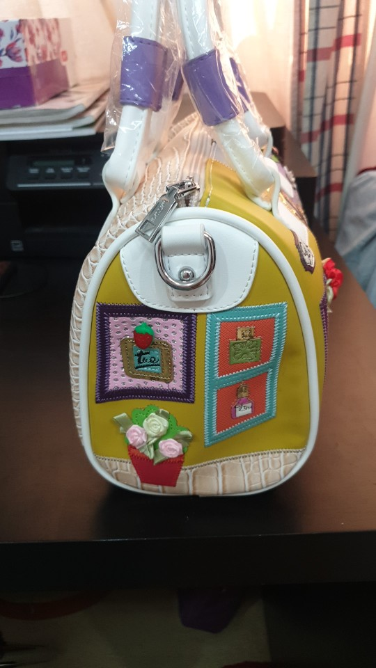 Mixed Color Embroidery Leather Bag