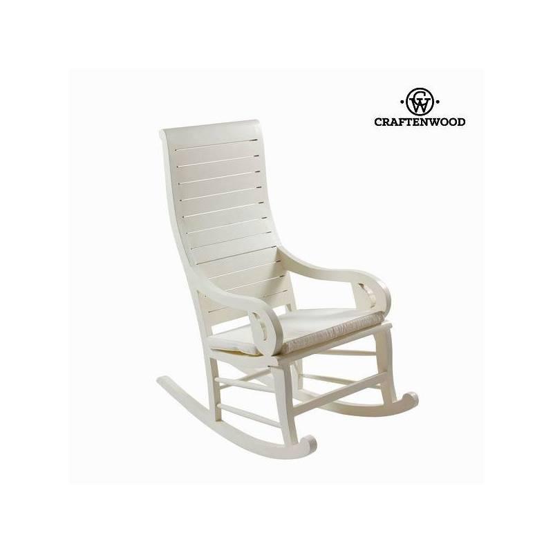 Rocking Chair Teak Wood White (113x110x55 Cm) By Craftenwood