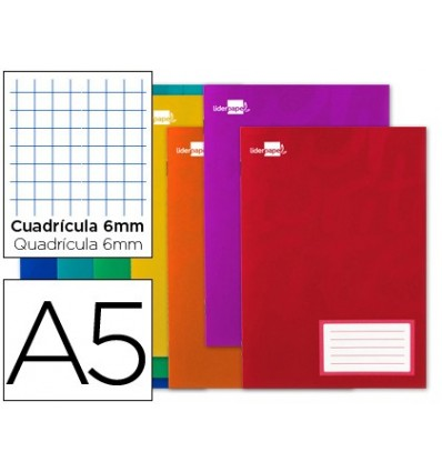 BOOK LIDERPAPEL WRITE A5 32 SHEETS 60G/M2CUADRO 6MM WITH MARGIN 20 Units
