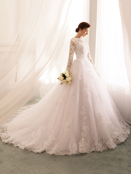 Wedding Dresses 2020 Princess Silhouette Bateau Neck Long Sleeve Natural Waist Lace Tulle Bridal Gowns