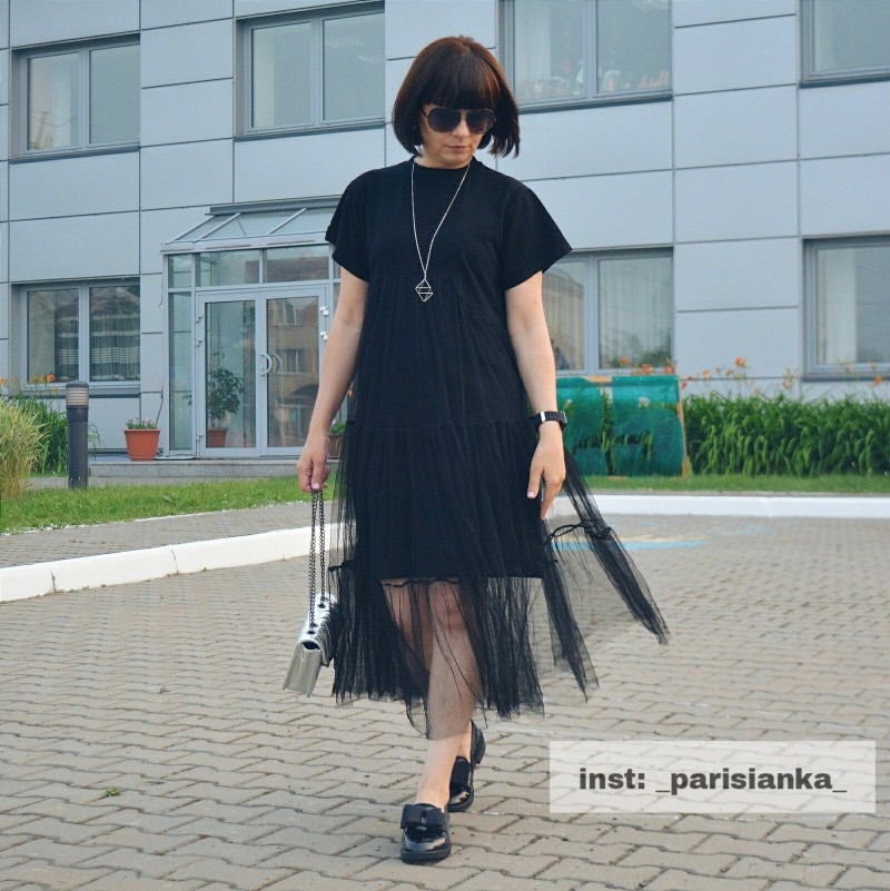 Summer New Fashion Large Size Black Stitching Net Yarn Round Collar Short Sleeve Size Loose Dress Women photo review