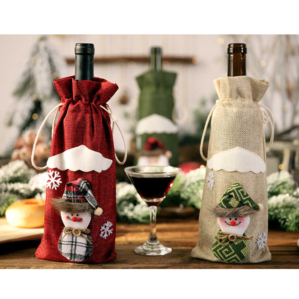Christmas Wine Bottle Cover Bags Christmas Wine Bottle Covers Gife Holder with Santa Claus/Snowman Christmas Decoration