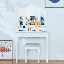 Vanity Set with Cushioned Bench Vanity Makeup Dressing Table Stool with Tri-Folding Mirror 5 Drawers for Cosmetics Storage White