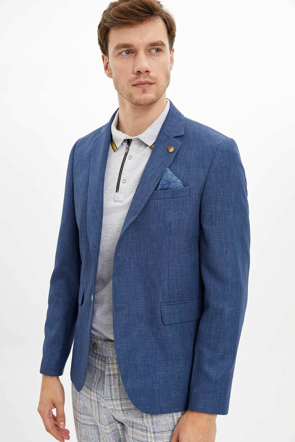 DeFacto Men New Fashion Blue Blazer Casual Slim Fit Suit Jacket Male Blazers Men Coat Jacket Men Spring Autumn - M1998AZ19AU